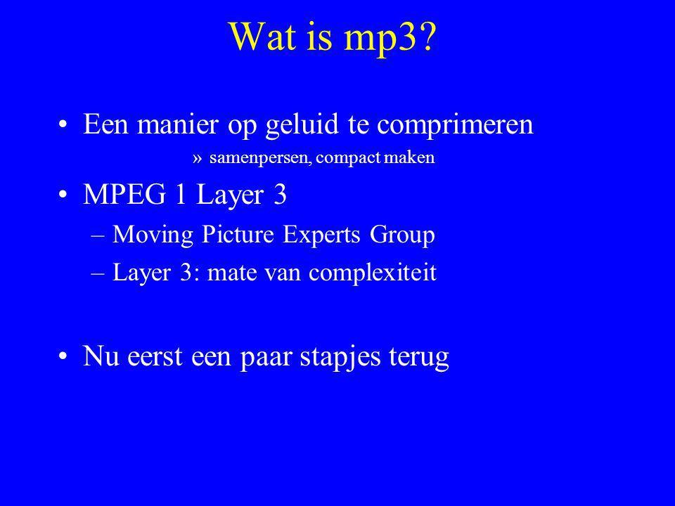 Wat is mp3 Een manier op geluid te comprimeren MPEG 1 Layer 3