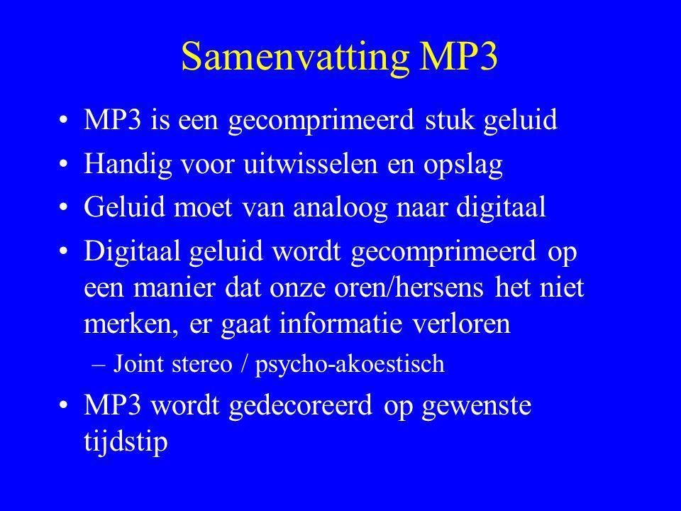 Samenvatting MP3 MP3 is een gecomprimeerd stuk geluid