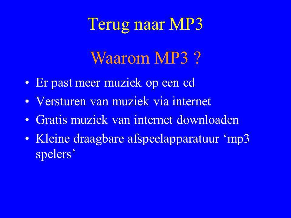 Terug naar MP3 Waarom MP3 Er past meer muziek op een cd