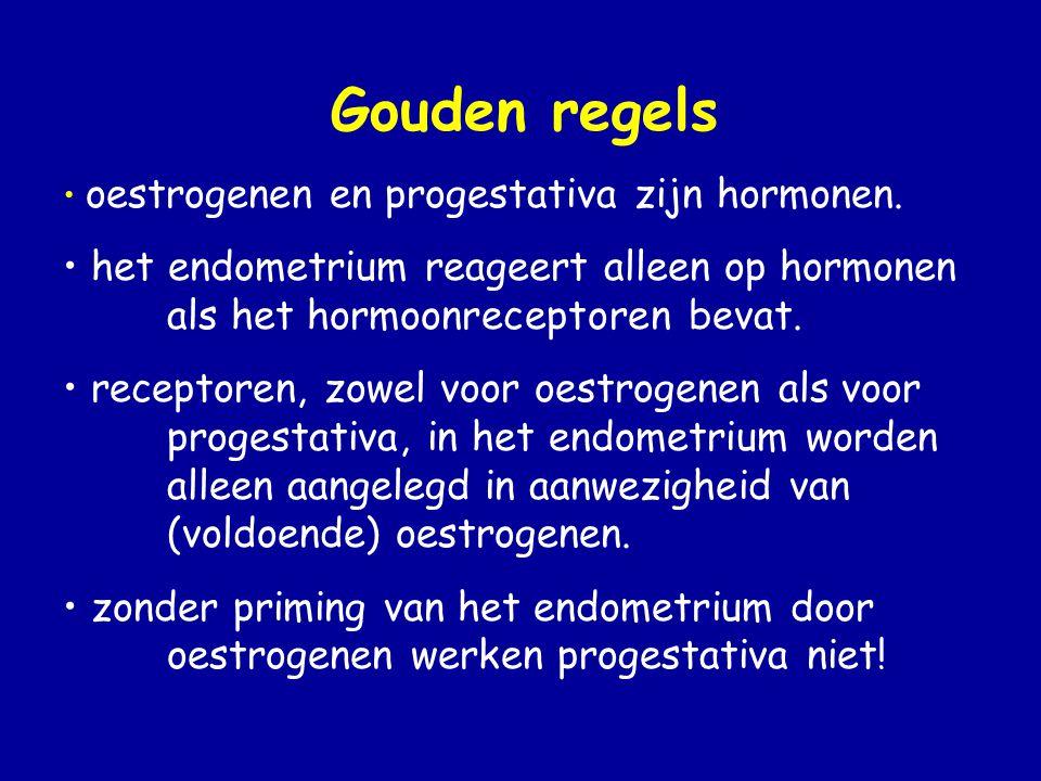 Gouden regels oestrogenen en progestativa zijn hormonen. het endometrium reageert alleen op hormonen als het hormoonreceptoren bevat.
