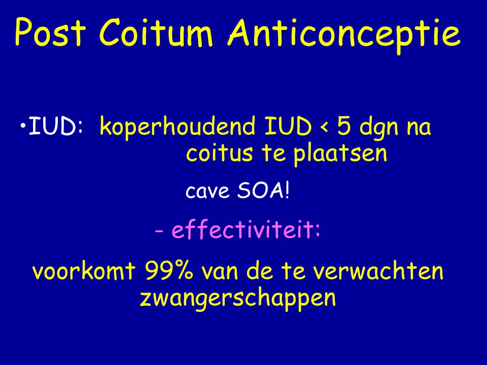 Post Coitum Anticonceptie