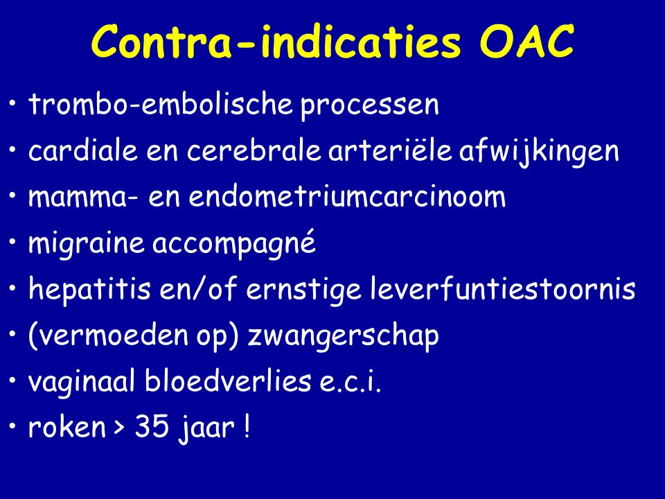 Contra-indicaties OAC