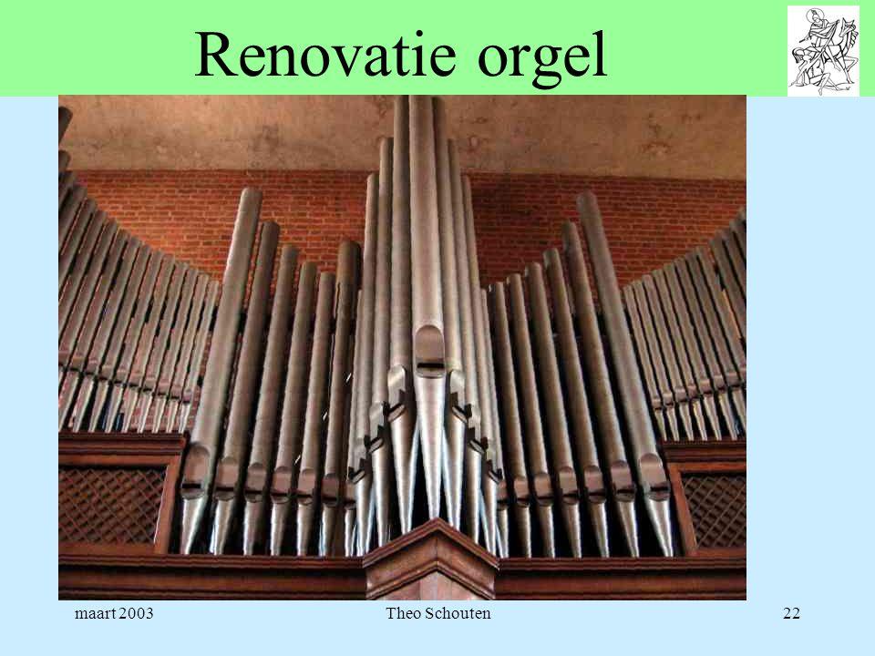 Renovatie orgel maart 2003 Theo Schouten