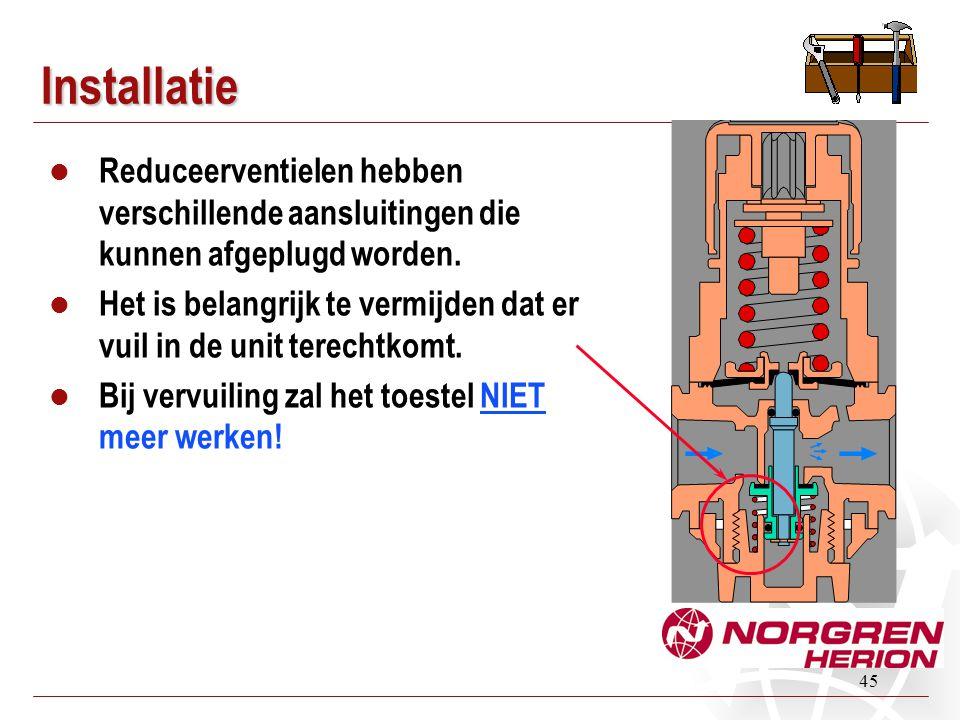 Installatie Reduceerventielen hebben verschillende aansluitingen die kunnen afgeplugd worden.
