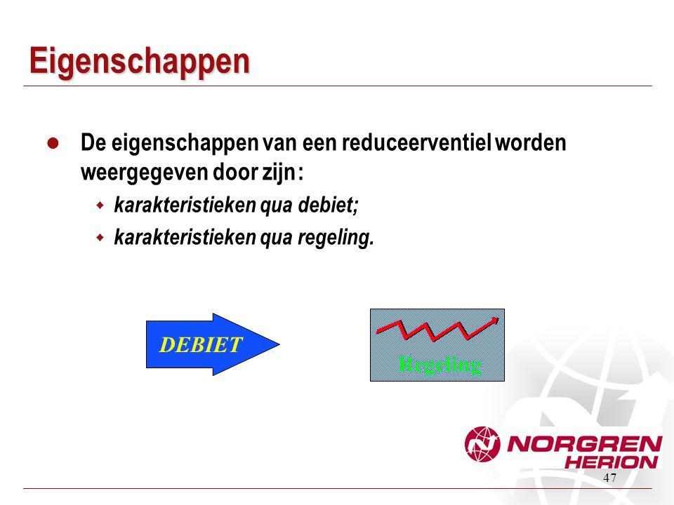 Eigenschappen De eigenschappen van een reduceerventiel worden weergegeven door zijn : karakteristieken qua debiet;