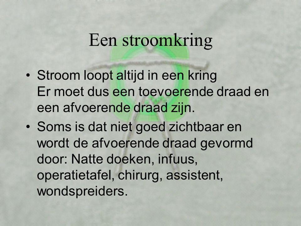 Een stroomkring Stroom loopt altijd in een kring Er moet dus een toevoerende draad en een afvoerende draad zijn.
