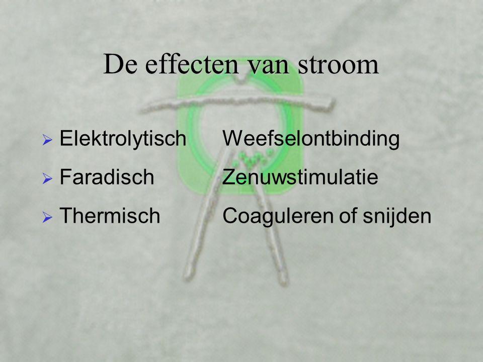 De effecten van stroom Elektrolytisch Faradisch Thermisch