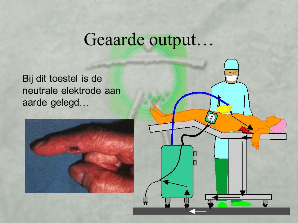 Geaarde output… Bij dit toestel is de neutrale elektrode aan aarde gelegd…