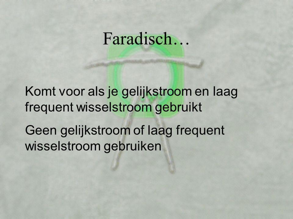 Faradisch… Komt voor als je gelijkstroom en laag frequent wisselstroom gebruikt.