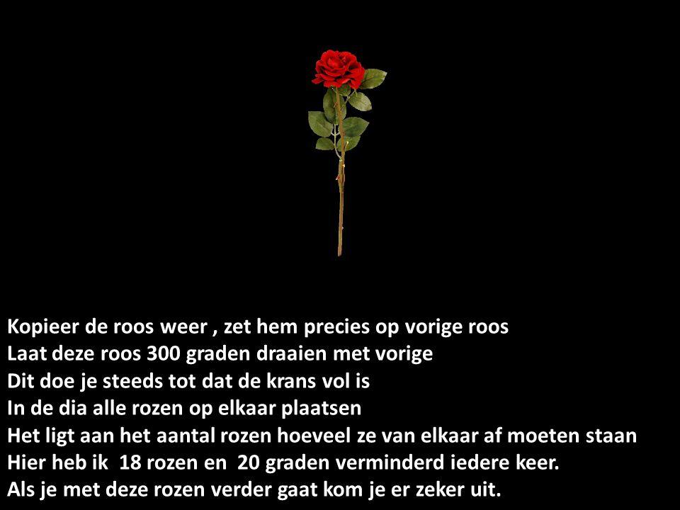 Kopieer de roos weer , zet hem precies op vorige roos