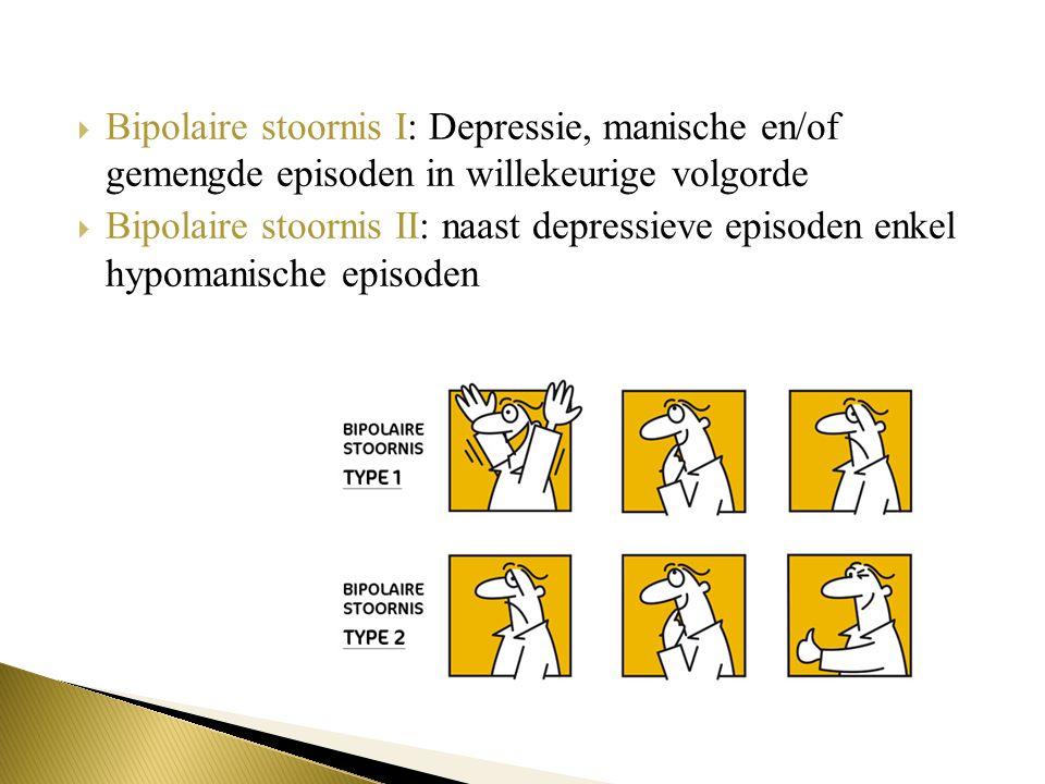 Bipolaire stoornis I: Depressie, manische en/of gemengde episoden in willekeurige volgorde