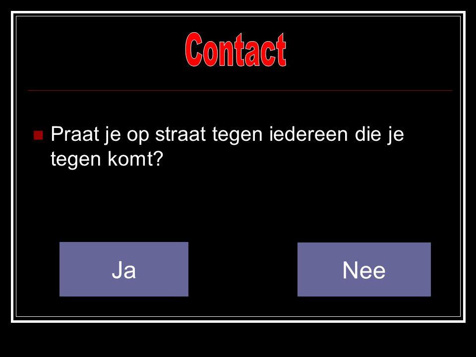 Contact Praat je op straat tegen iedereen die je tegen komt Ja Nee