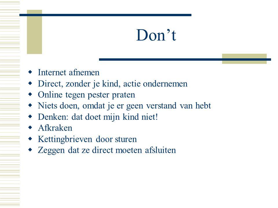 Don't Internet afnemen Direct, zonder je kind, actie ondernemen