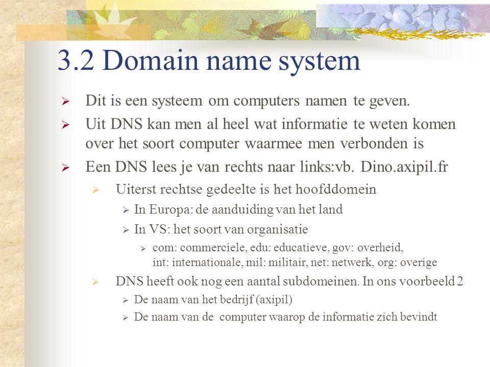 3.2 Domain name system Dit is een systeem om computers namen te geven.