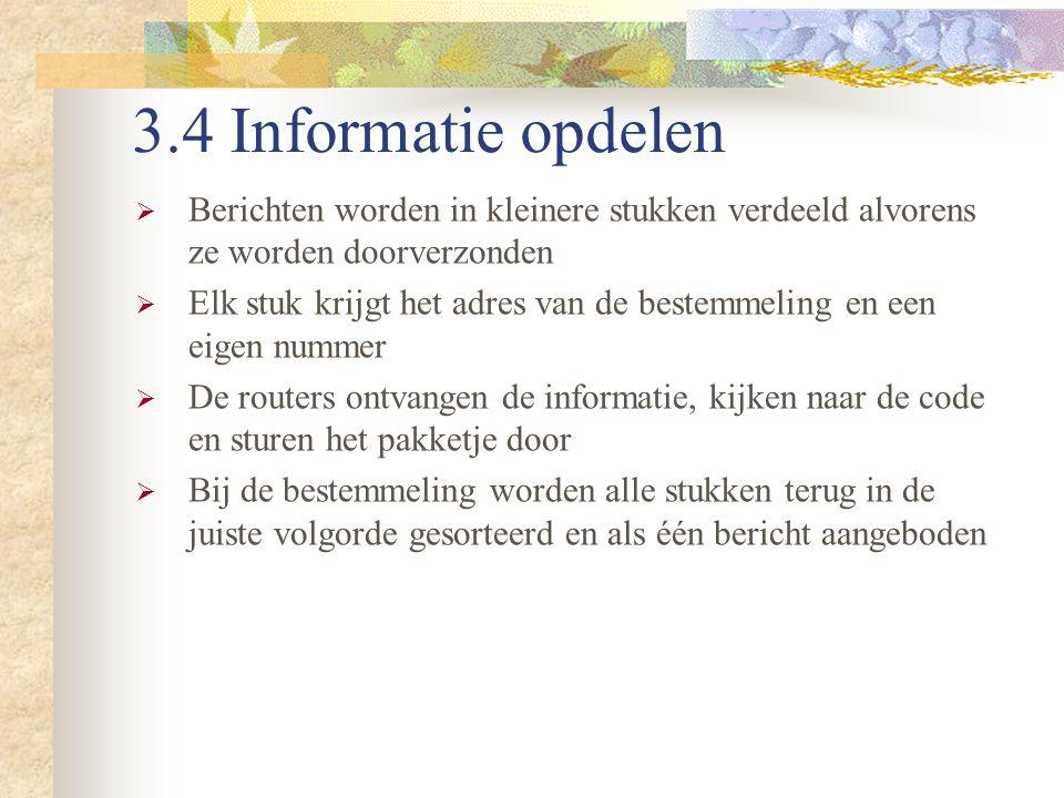 3.4 Informatie opdelen Berichten worden in kleinere stukken verdeeld alvorens ze worden doorverzonden.