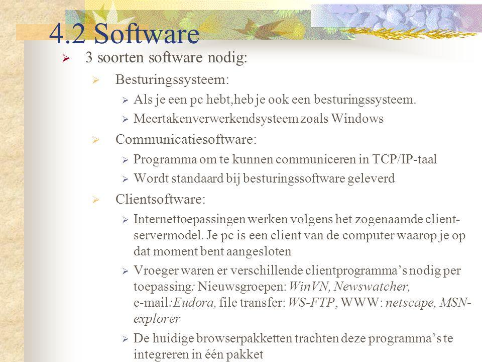 4.2 Software 3 soorten software nodig: Besturingssysteem: