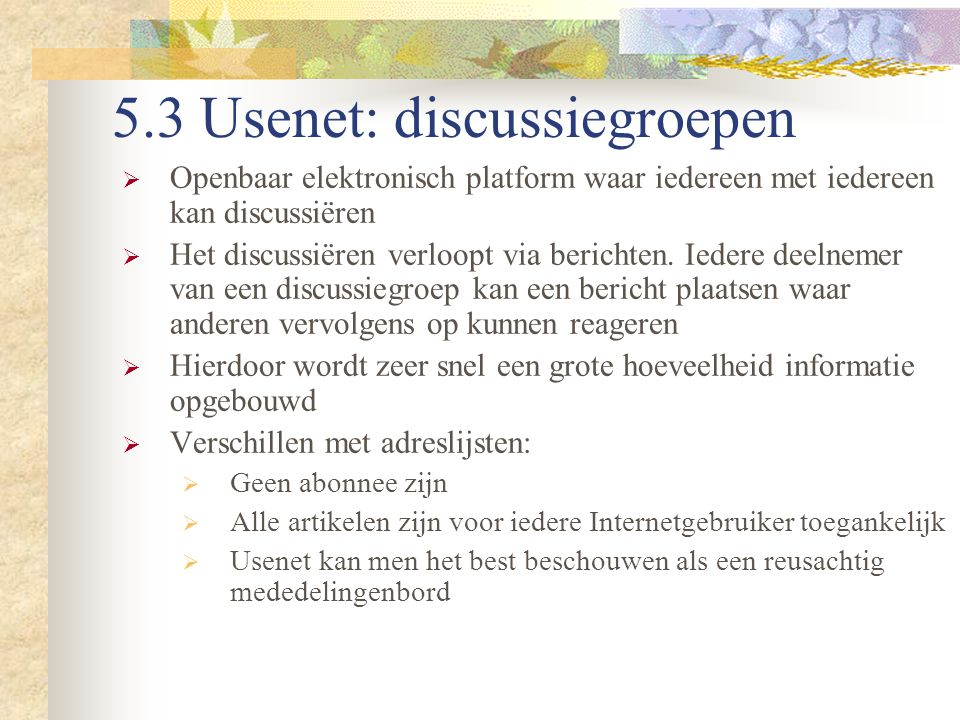 5.3 Usenet: discussiegroepen
