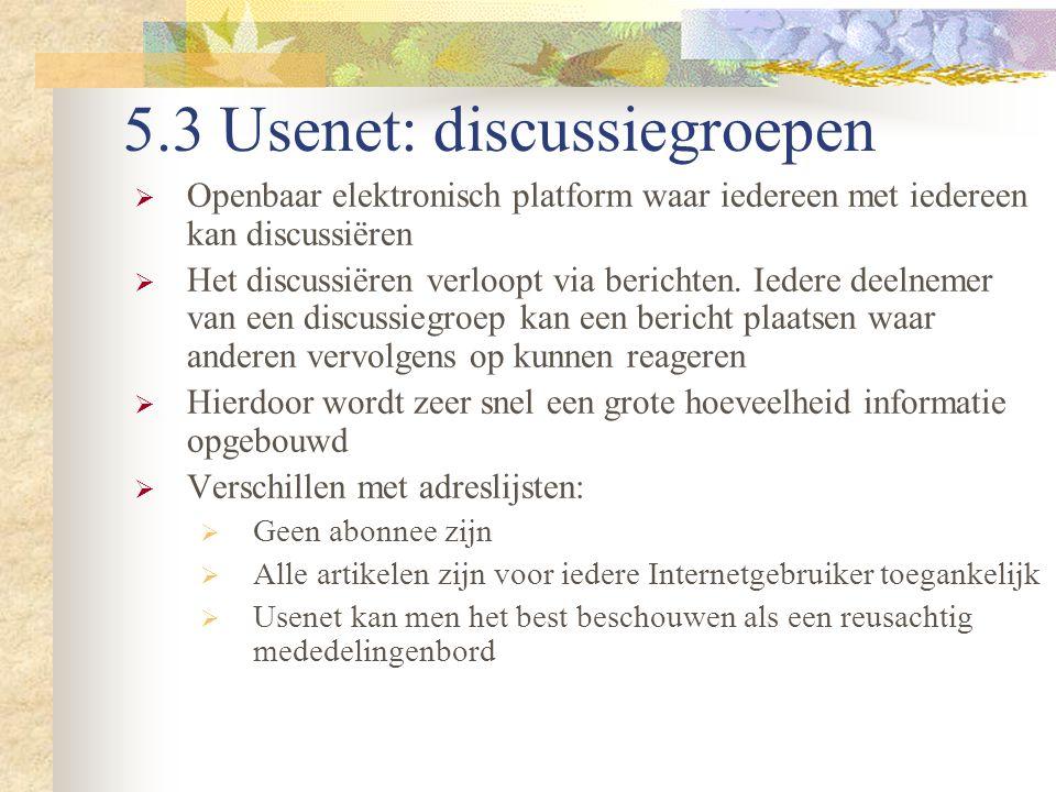 5.3 Usenet: discussiegroepen