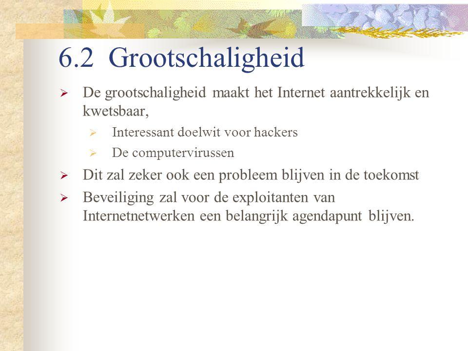6.2 Grootschaligheid De grootschaligheid maakt het Internet aantrekkelijk en kwetsbaar, Interessant doelwit voor hackers.