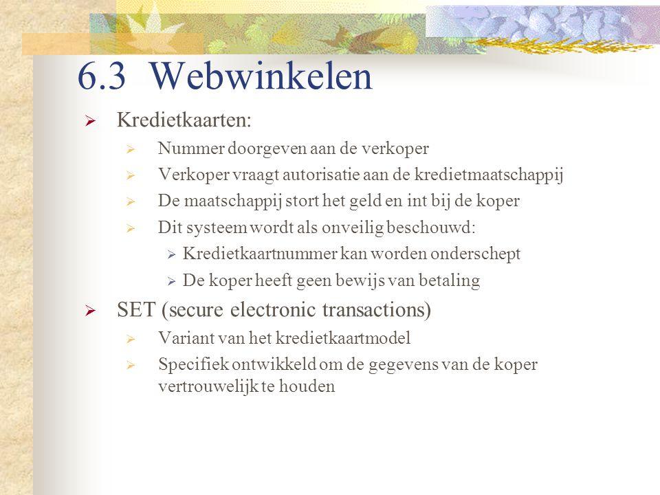 6.3 Webwinkelen Kredietkaarten: SET (secure electronic transactions)