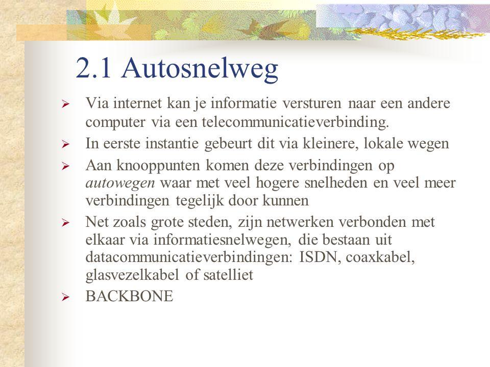 2.1 Autosnelweg Via internet kan je informatie versturen naar een andere computer via een telecommunicatieverbinding.