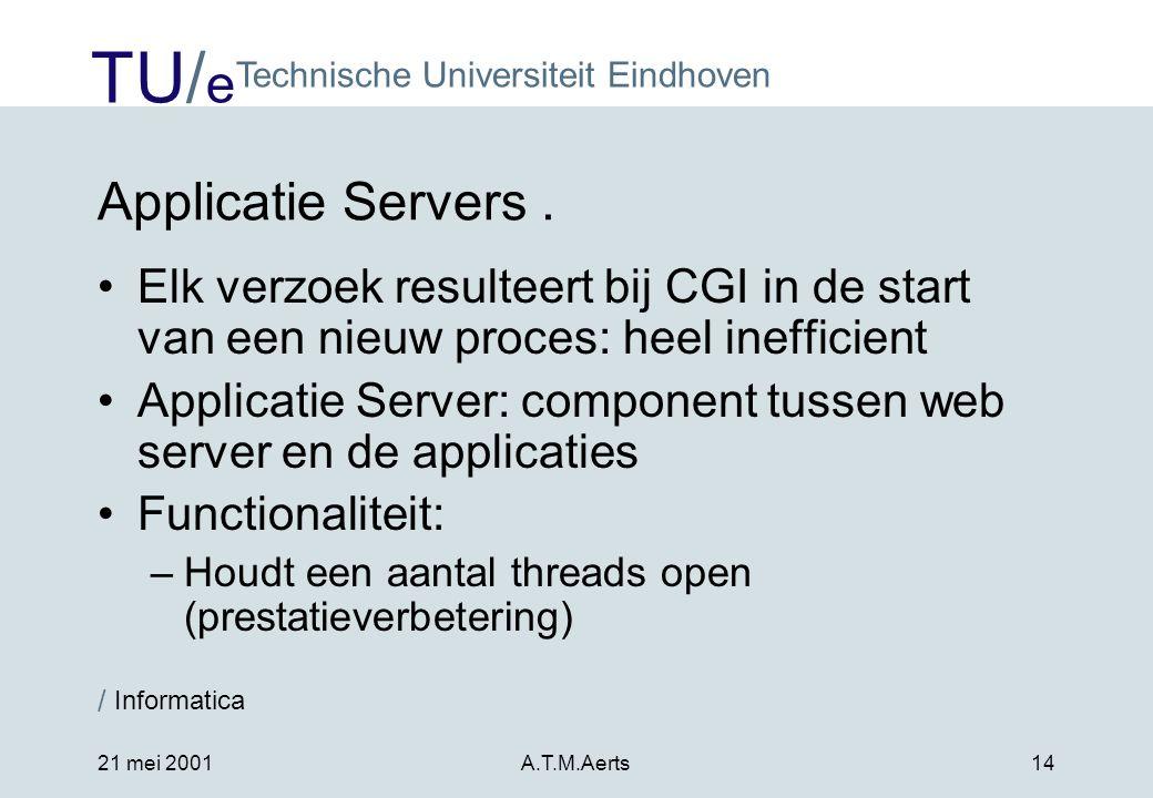 Applicatie Servers . Elk verzoek resulteert bij CGI in de start van een nieuw proces: heel inefficient.