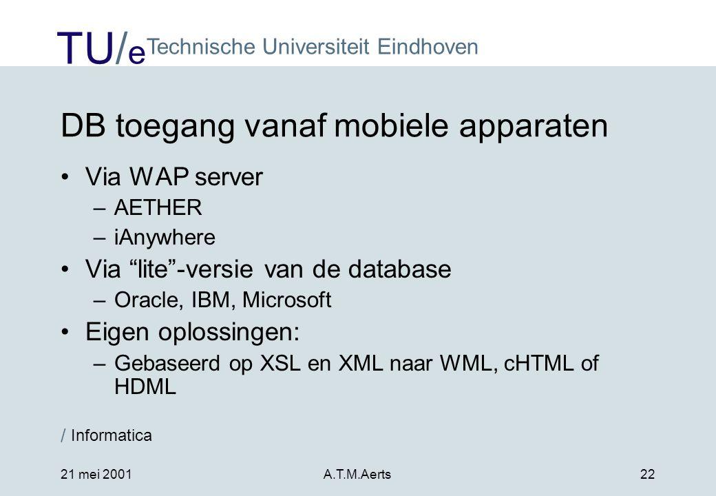 DB toegang vanaf mobiele apparaten