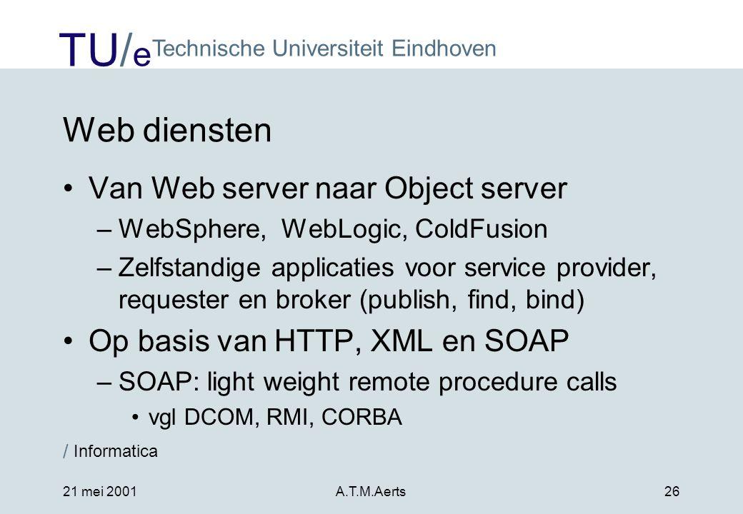 Web diensten Van Web server naar Object server