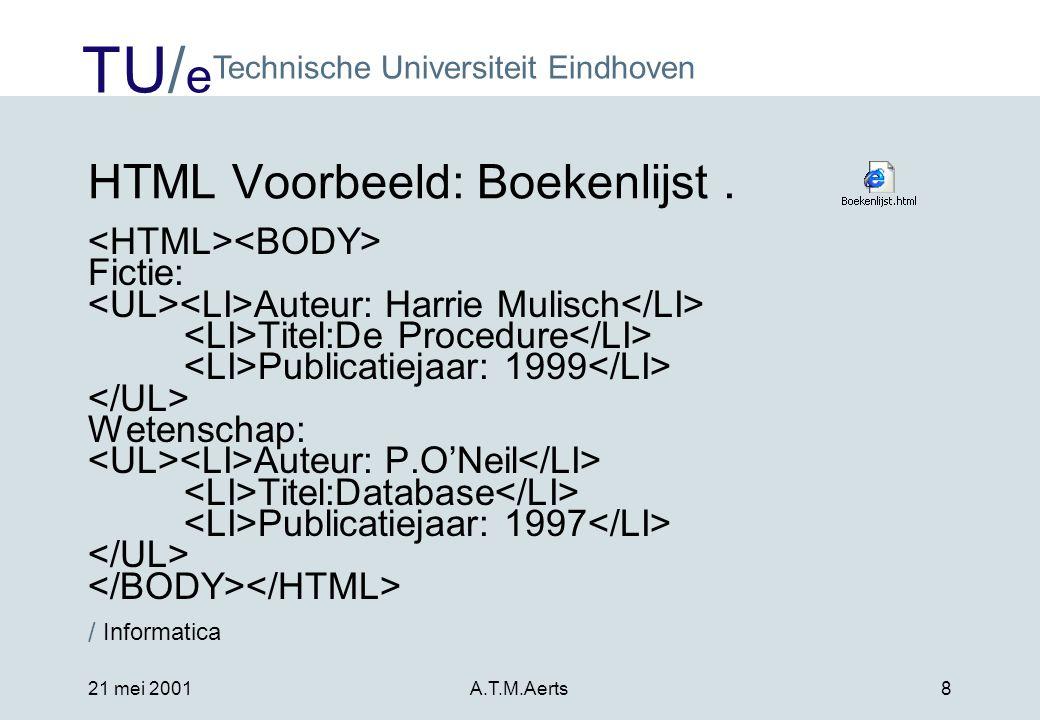 HTML Voorbeeld: Boekenlijst .