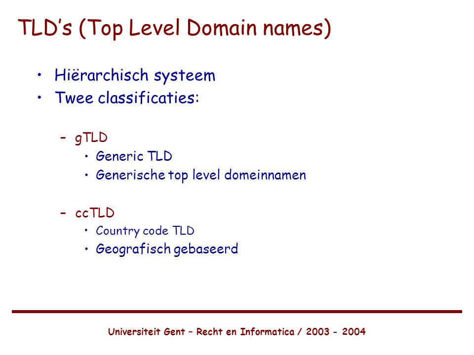 TLD's (Top Level Domain names)