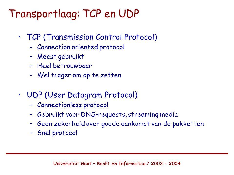 Transportlaag: TCP en UDP