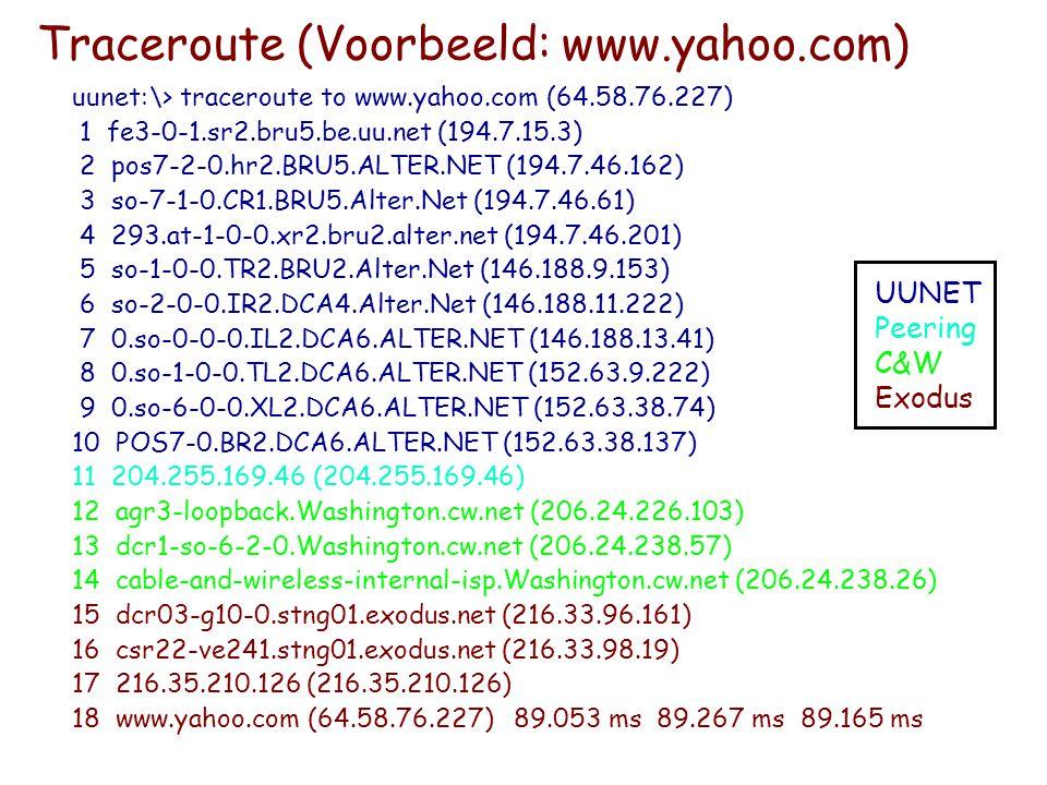 Traceroute (Voorbeeld: www.yahoo.com)