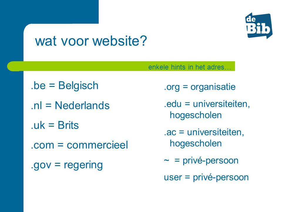 wat voor website .be = Belgisch .nl = Nederlands .uk = Brits