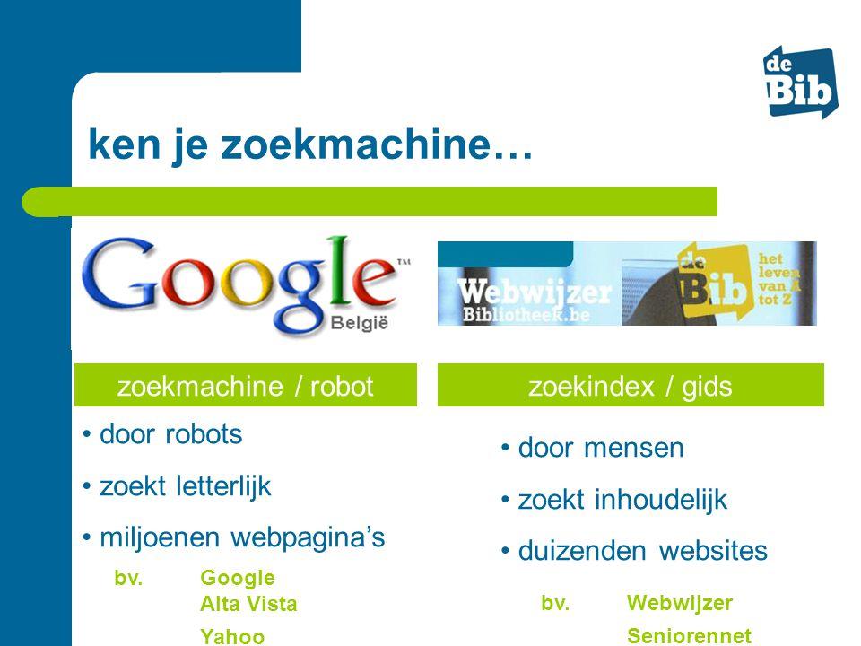ken je zoekmachine… zoekmachine / robot zoekindex / gids door robots
