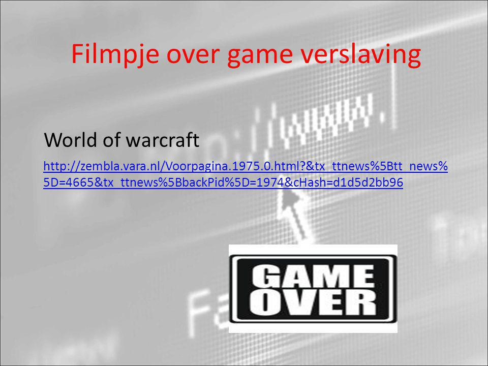 Filmpje over game verslaving