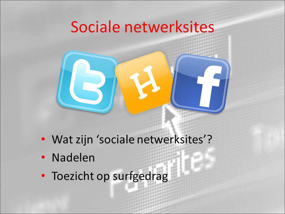 Sociale netwerksites Wat zijn 'sociale netwerksites' Nadelen