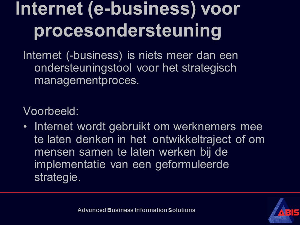 Internet (e-business) voor procesondersteuning