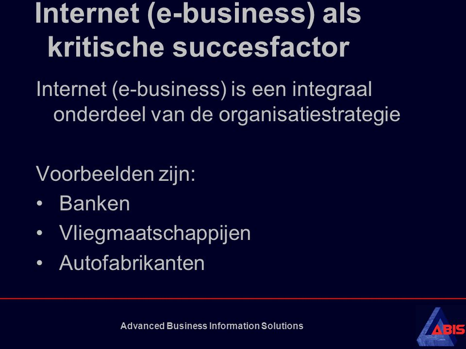 Internet (e-business) als kritische succesfactor