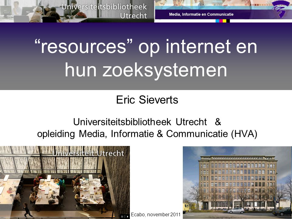 resources op internet en hun zoeksystemen