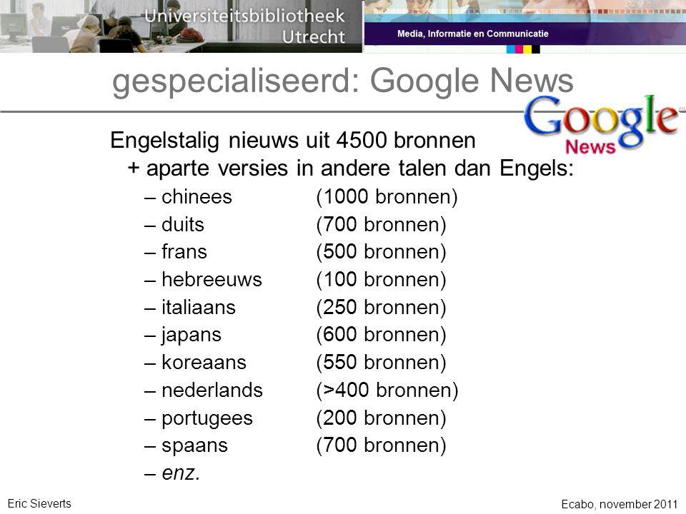 gespecialiseerd: Google News