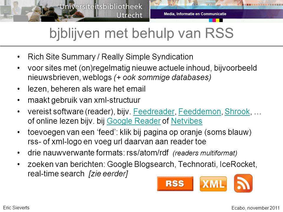 bjblijven met behulp van RSS