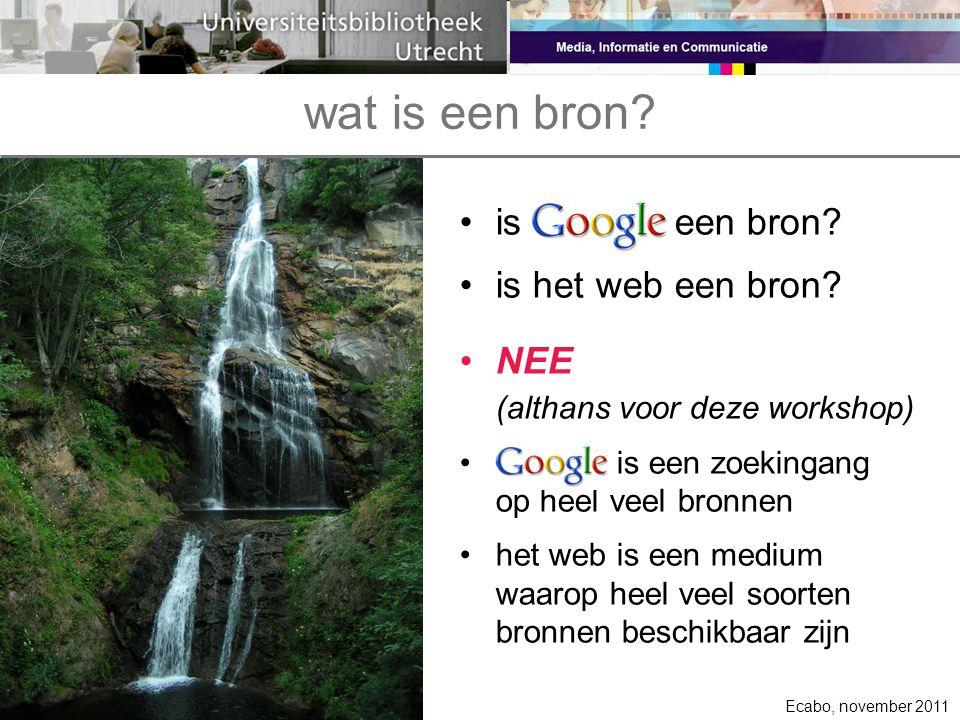 wat is een bron is Google een bron is het web een bron NEE