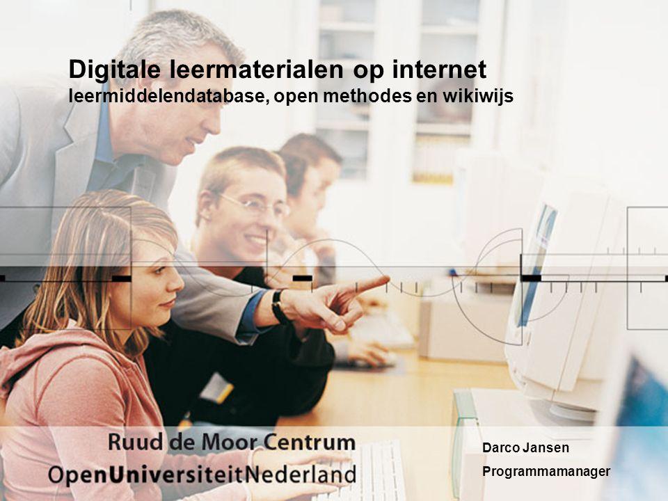 Digitale leermaterialen op internet leermiddelendatabase, open methodes en wikiwijs