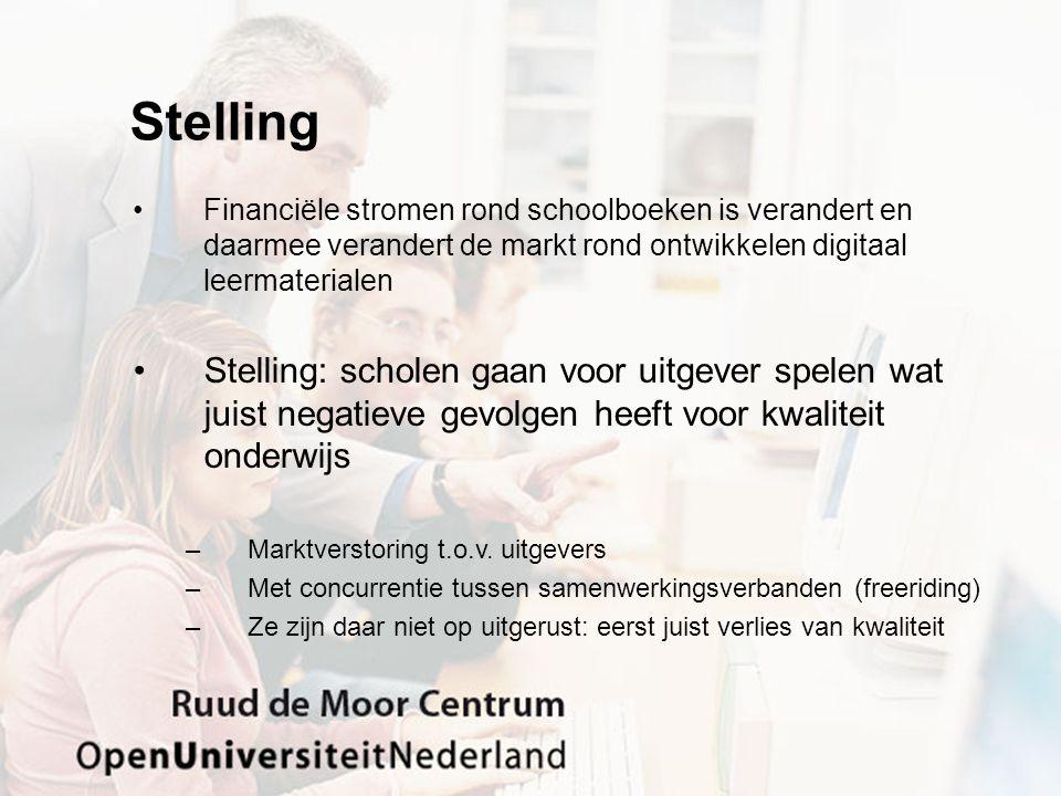 Stelling Financiële stromen rond schoolboeken is verandert en daarmee verandert de markt rond ontwikkelen digitaal leermaterialen.