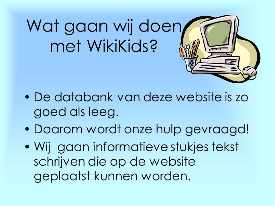 Wat gaan wij doen met WikiKids