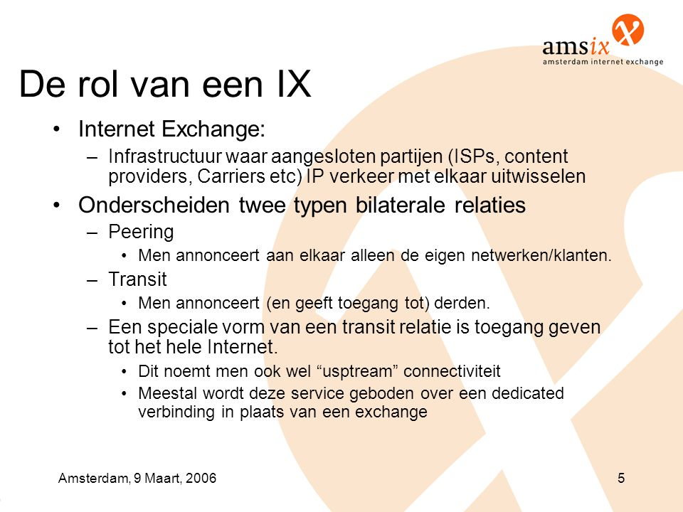 De rol van een IX Internet Exchange: