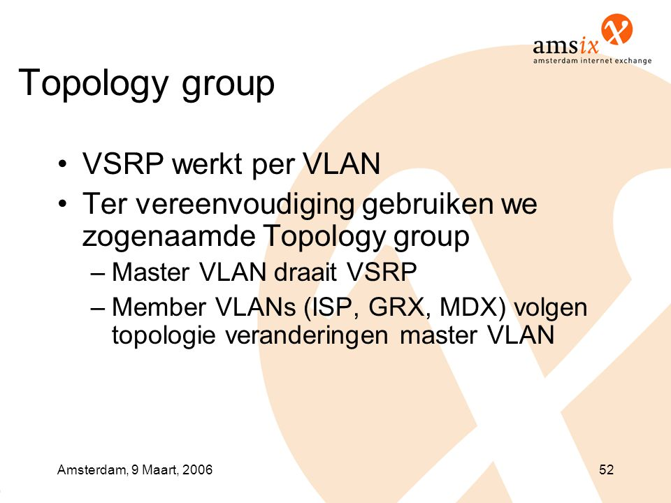 Topology group VSRP werkt per VLAN