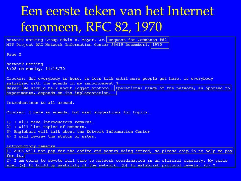 Een eerste teken van het Internet fenomeen, RFC 82, 1970
