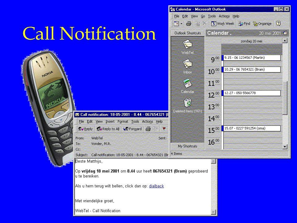 Internet Diensten Call Notification. Gewaarschuwd worden als er een telefoontje voor je is geweest.