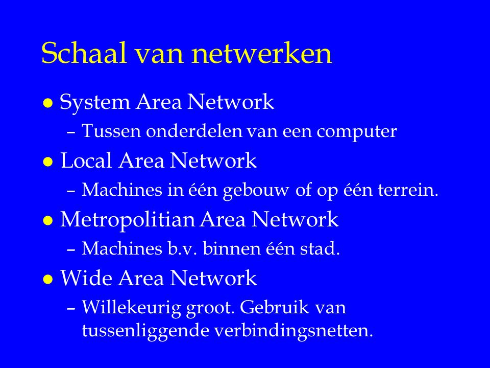 Schaal van netwerken System Area Network Local Area Network